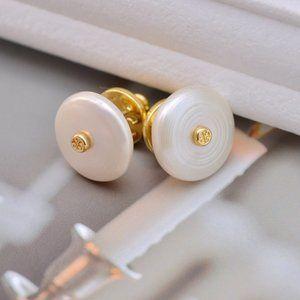 Tory Burch Elegant Natural Pearl Earrings